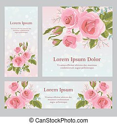 English pink rose graphic flowers. For wedding invitation or...