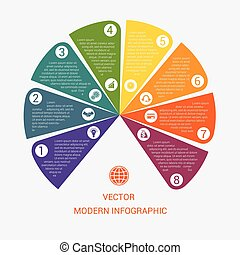 Business chart modern infographic vector template from color...