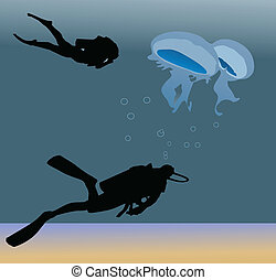 two divers and jellyfish on the bottom of the ocean color...