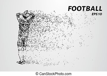 A football player throwing ball. Football of the particles....
