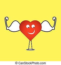 strong healthy heart vector heart character illustration
