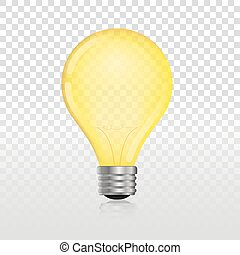 glowing off electric light bulb realistic transparent...
