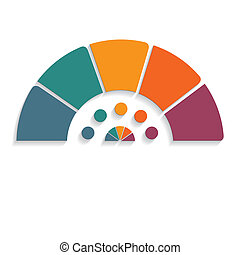 chart semicircle for infographics five positions - Template...