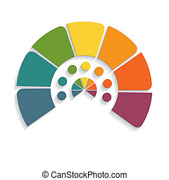 chart semicircle for infographics seven positions - Template...