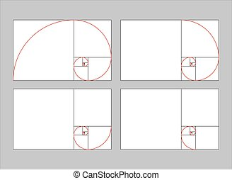 golden ratio section vector illustration Fibonacci rectangle...