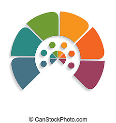 chart semicircle for infographics six positions - Template...