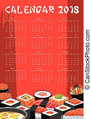 Vector 2018 calendar for Japanese sushi bar - Japanese sushi...