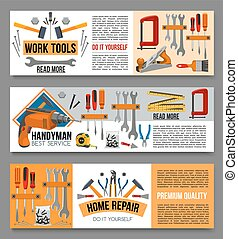 Vector flat banenrs of home repair work tools - Work tools...