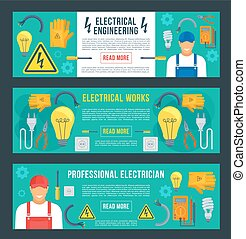 Vector banners for electrical engineering - Electrical...