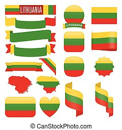 Lithuania flags - Set of Lithuania maps, flags, ribbons,...