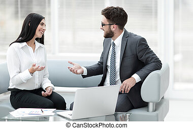 business partners discussing business documents before...