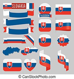 slovakia flags - Set of Slovakia maps, flags, ribbons, icons...