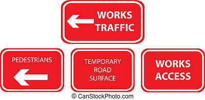 works traffic signs collection vector