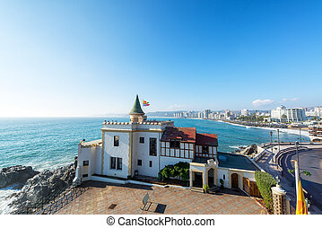 Wulff Castle in Vina del Mar - Wide angle view of Wulff...