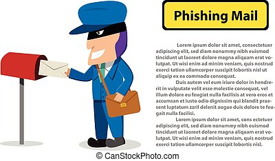 Hacker send a phishing mail to victim, Vector design
