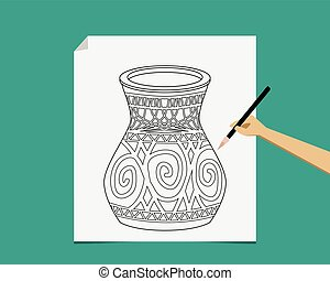 Artist sketching pottery on white paper, vector - Artist...