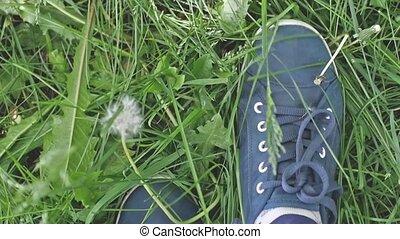 Female feet in sneakers walks on the green grass in slow...