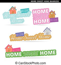 home sweet home banners - Set of home sweet home banners in...
