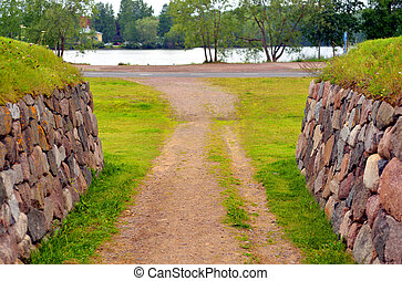 Landscape in the fortress of Lappeenranta. - Summer...