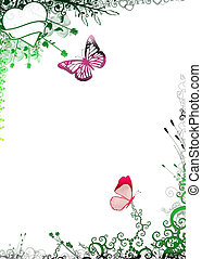 Nature frame with butterflies