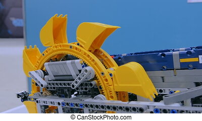 Close up shot of bucket wheel excavator meccano at...