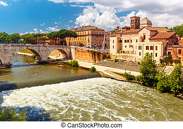 Tiber island in sunny day, Rome, Italy - View of the Tiber...
