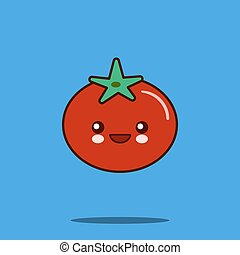 Cute vegetable cartoon character tomato icon kawaii Smiling face. Flat design Vector Illustration