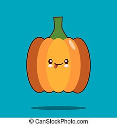 Cute vegetable cartoon character pumpkin icon kawaii Smiling face. Flat design Vector Illustration
