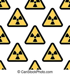 Radiation warning sign seamless pattern isolated on white background. Flat design Vector