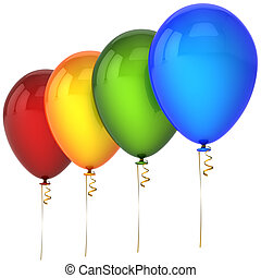 Party balloons in a row - Colorful (red, orange, green,...