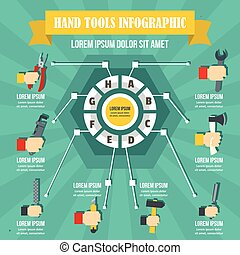 Hand tool infographic, flat style - Hand tool infographic...
