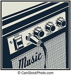 Amplifier Symbol - Stylized vector illustration of a guitar...