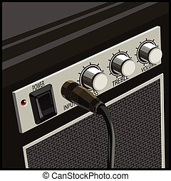 Guitar Amplifier - Stylized vector illustration of a guitar...