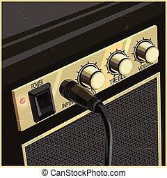 Retro Guitar Amplifier - Stylized vector illustration of a...