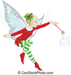 Christmas fairy - Illustration of a beautiful Christmas...