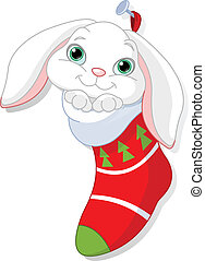 Bunny in Christmas sock - Cute white bunny in Christmas sock...
