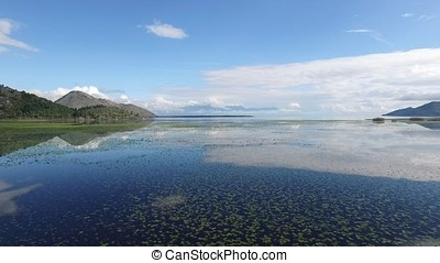 Sea Panoramic landscape mount, aerial view. Footage. Aerial...