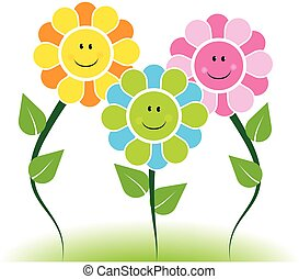 Happy faces flowers logo