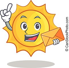 With envelope cute sun character cartoon vector illustration