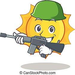 Army cute sun character cartoon vector illustration