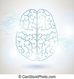 Technology Low Poly Design of Human Brain with Binary...