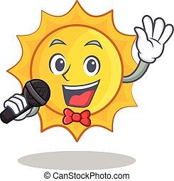 Singing cute sun character cartoon