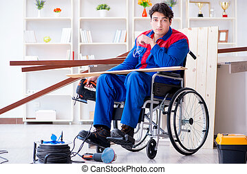 Disabled man working with circular saw