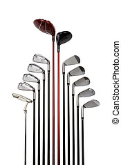 Golf club set from driver to wedge and putter, isolated on...