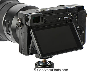 Mirrorless Camera with Tilt shift display monitor - Closeup...