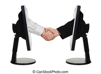 Virtual handshake - internet business concept isolated on...