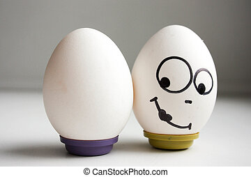 funny funny eggs. two eggs balanced nutrition. photo for...
