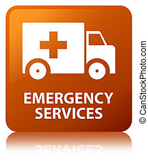 Emergency services brown square button - Emergency services...