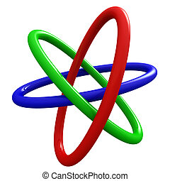 3 Borromean Rings - Rendering of Borromean Rings on white...