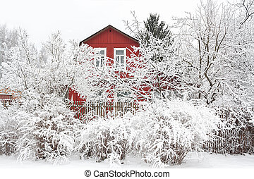 rural winter landscape with wooden house and trees in snow